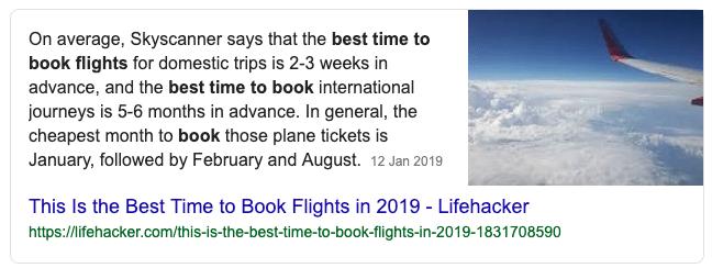Featured snippet over boeken van een vlucht