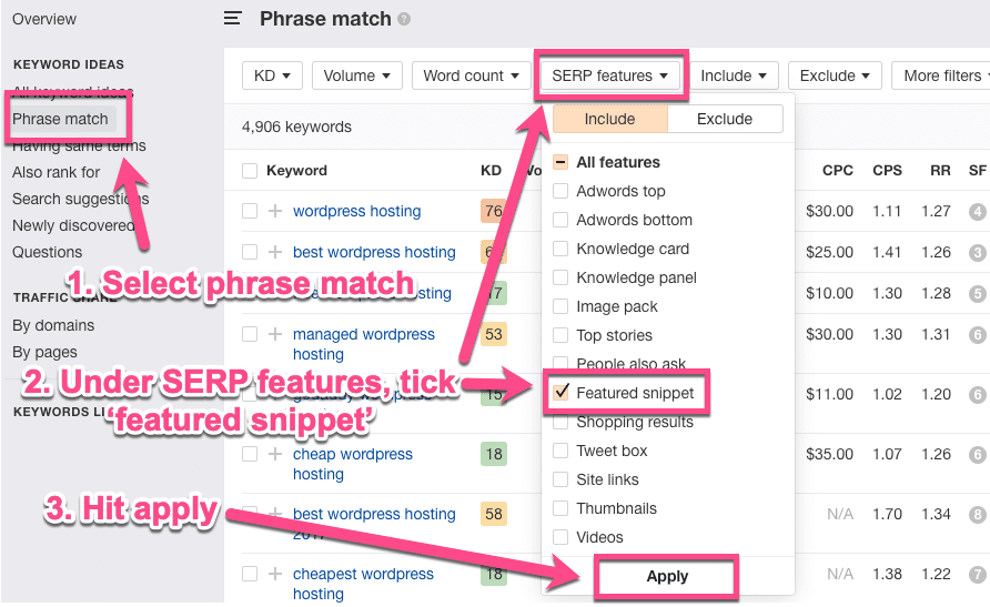 Ahrefs phrase match met featured snippets