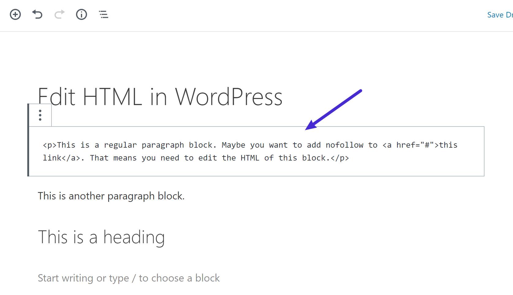 Voorbeeld van het bewerken van de HTML van een blok