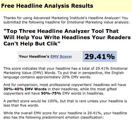Advanced Marketing Institute Headline Analyzer resultaat