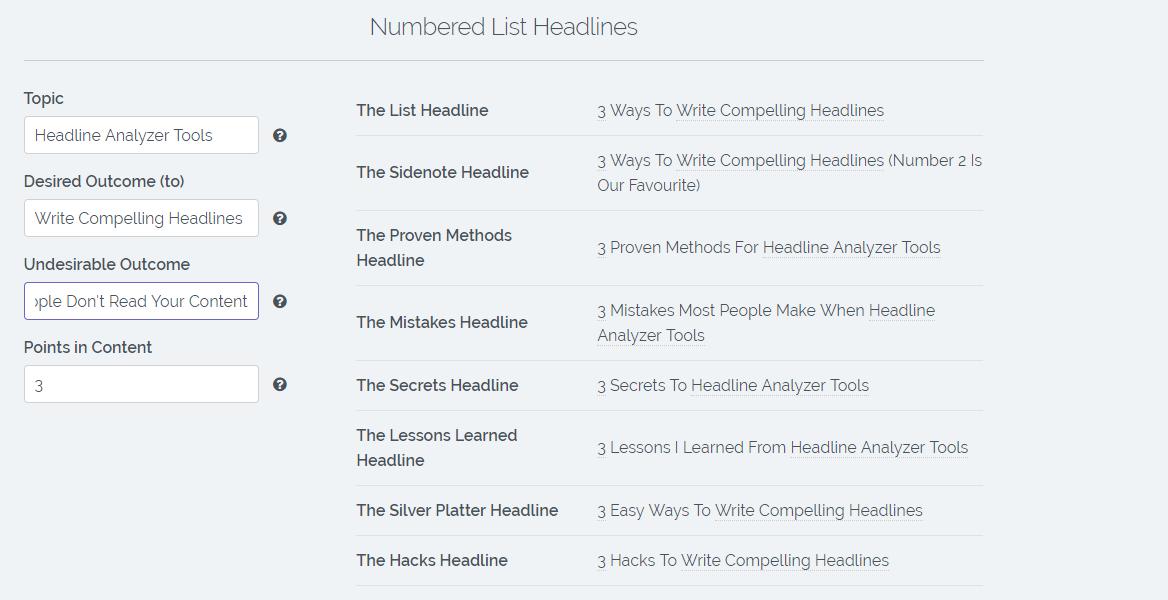 Titel suggesties in Sumo Kickass Headline Generator