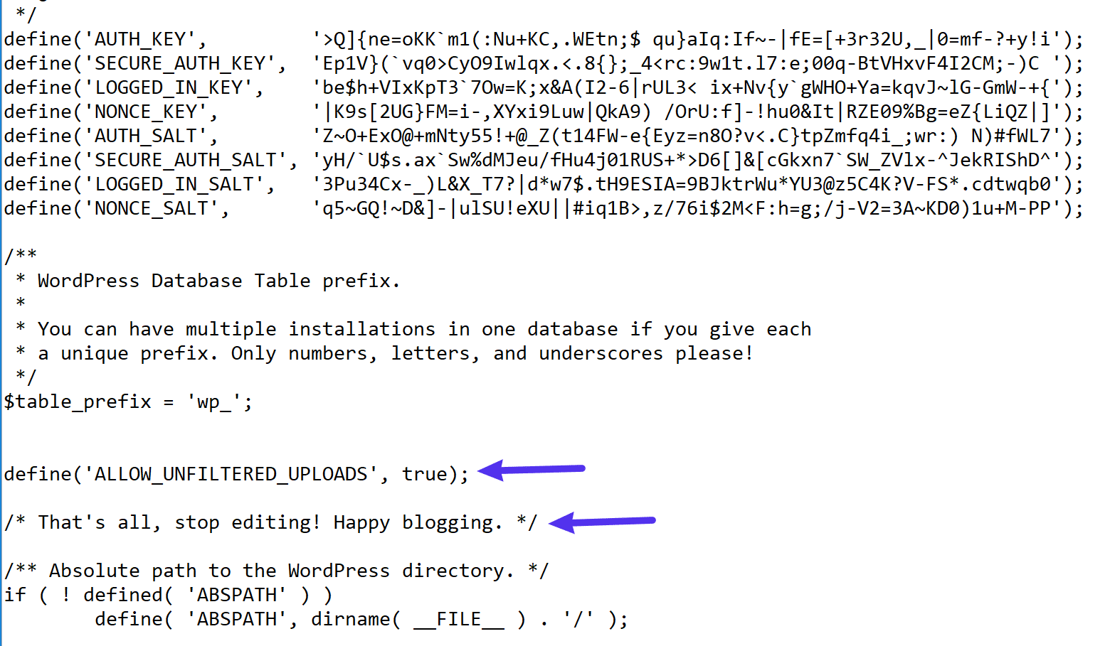 Hier voeg je de code aan je wp-config.php-bestand