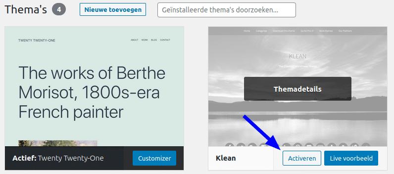 Zo activeer je een thema in WordPress