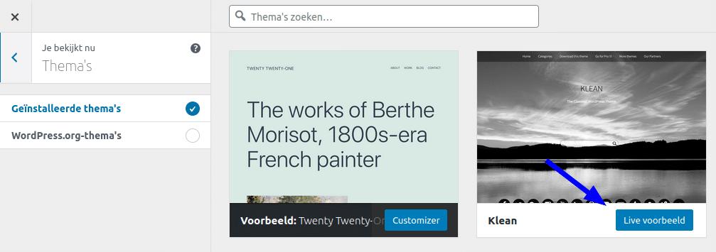 Zo bekijk je een voorbeeld van een thema in WordPress