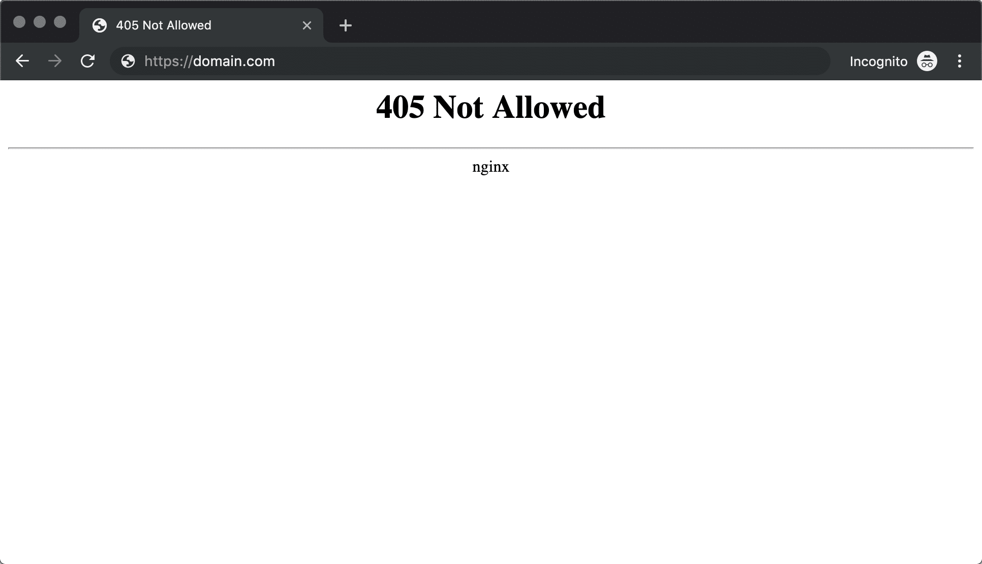 405 Not Allowed foutmelding Nginx in Chrome