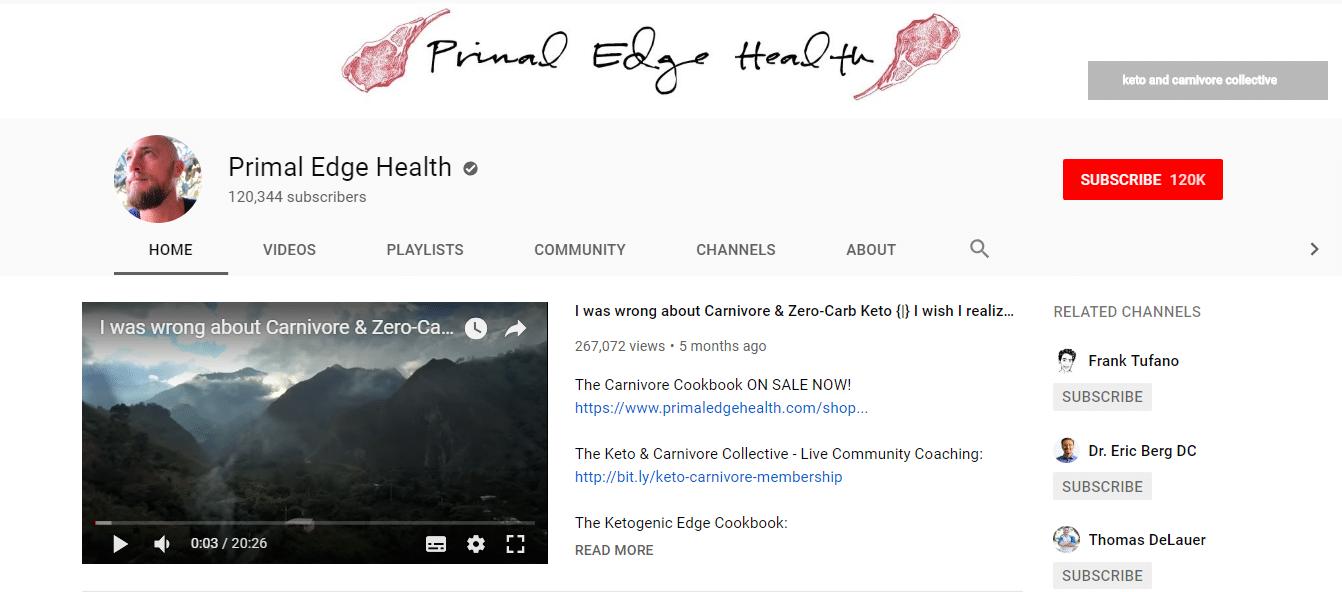 Het Primal Edge Health kanaal op Youtube