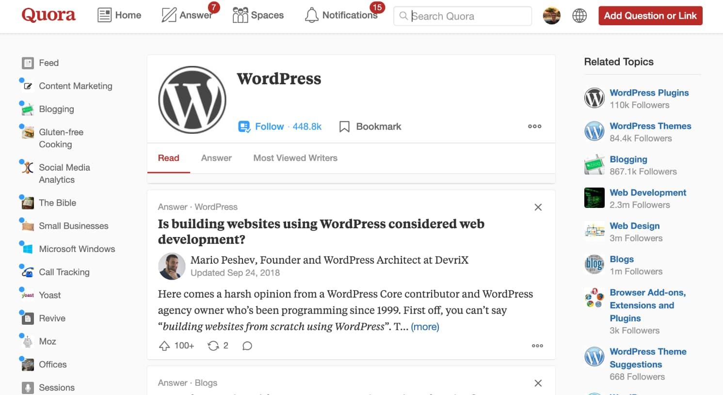 WordPress-ondersteuning op Quora