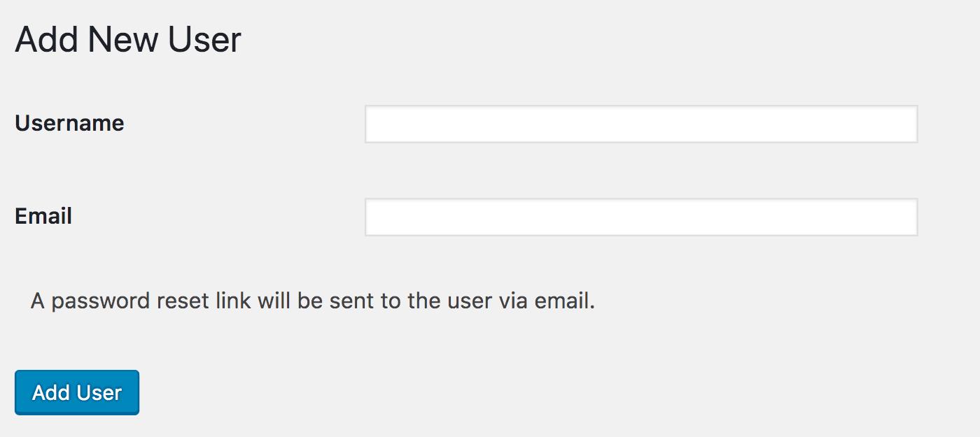 Add New User scherm