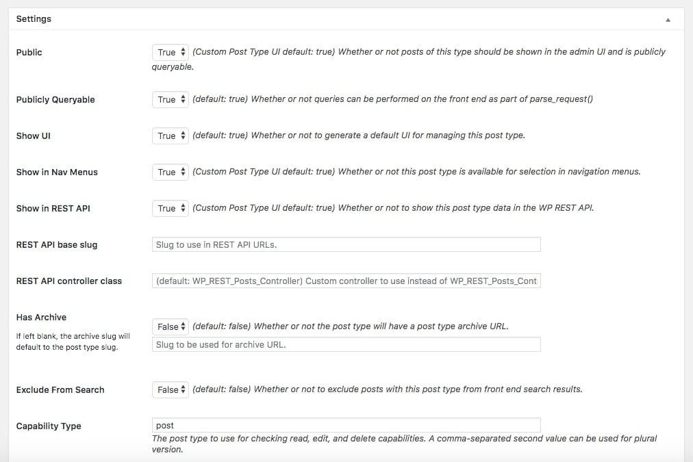 Instellingen voor de Custom Post Type UI plugin