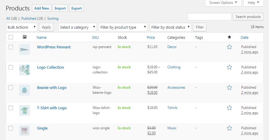WooCommerce-producten