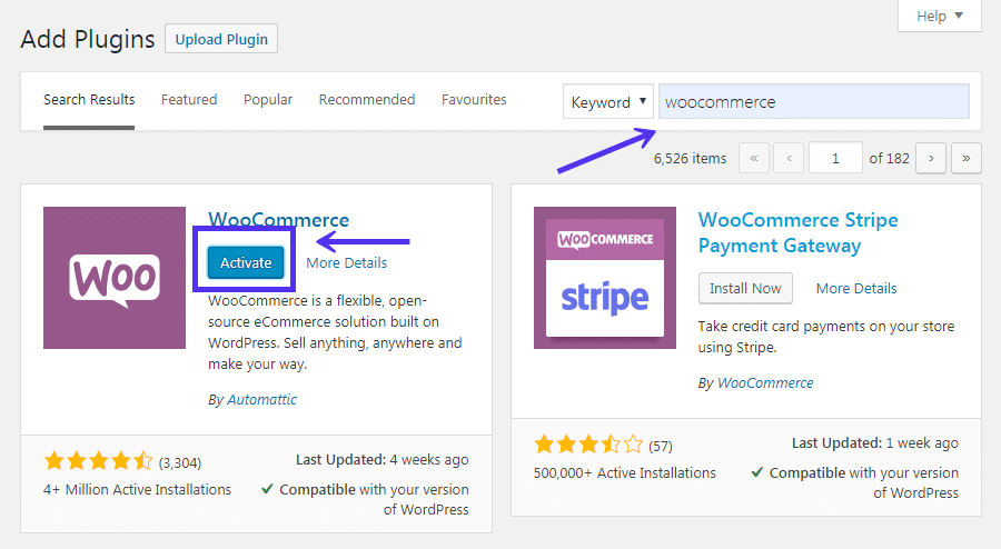 WooCommerce activeren