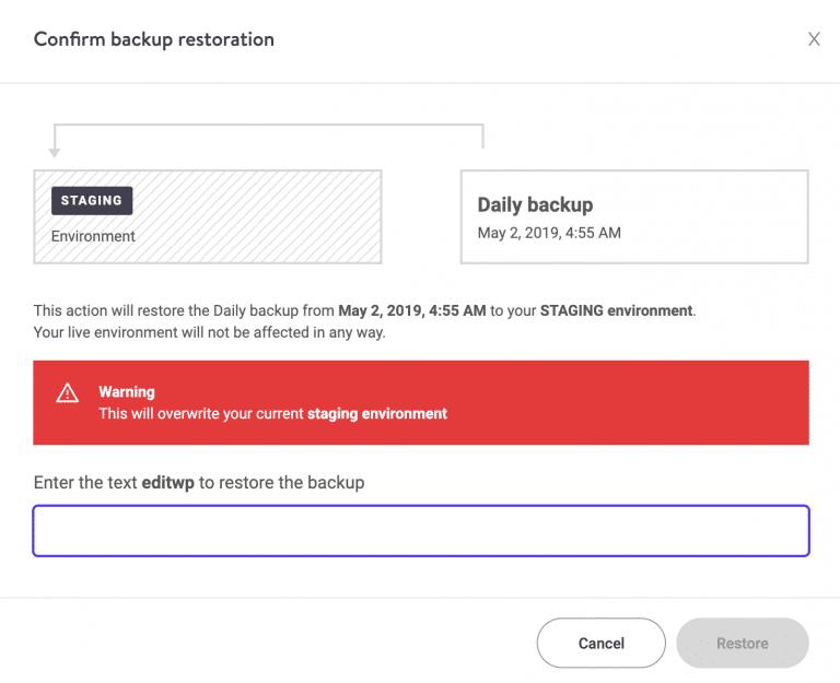 Bevestigen WordPress herstel naar de testomgeving