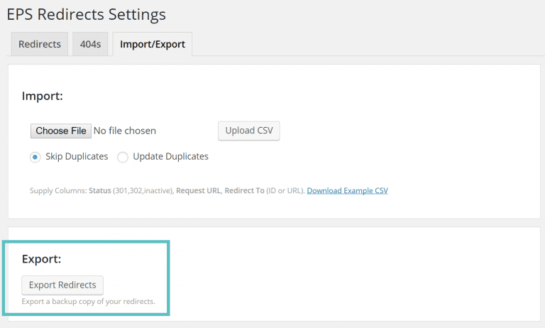 EPS plugin export redirects