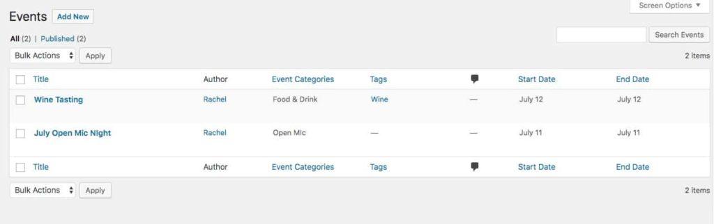 Evenementen aangemaakt door de Events Calendar plugin
