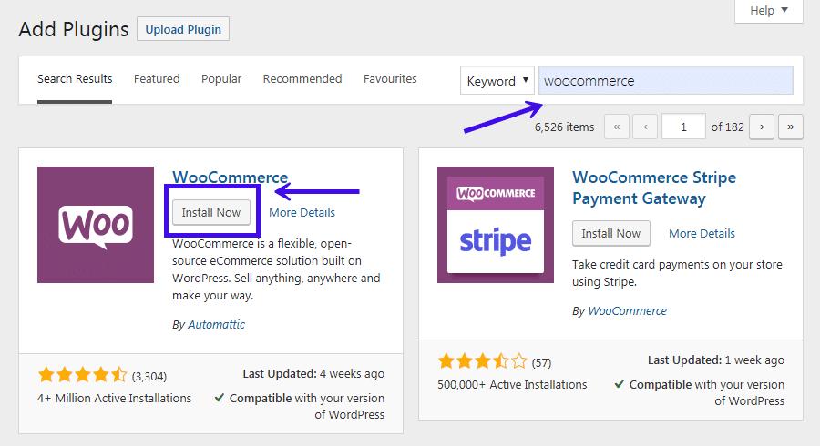 WooCommerce installeren