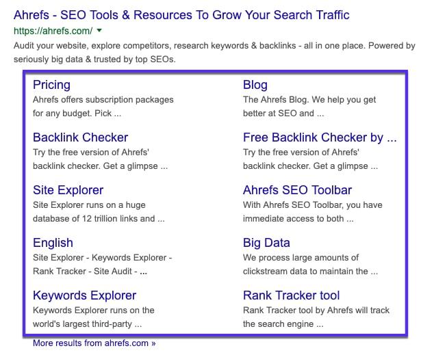Tool-pagina's sitelinks voor Ahrefs