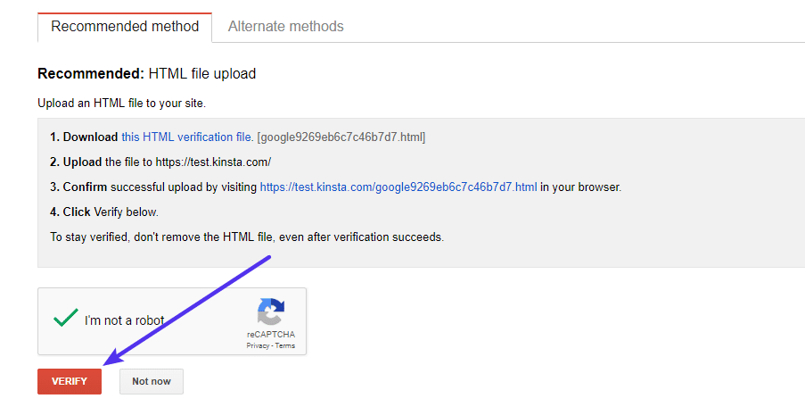 Voltooi het verificatie proces in Google Search Console