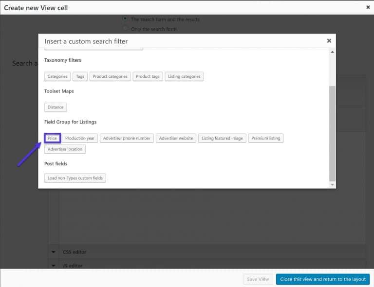 Voeg nieuwe zoekfilters toe via shortcodes
