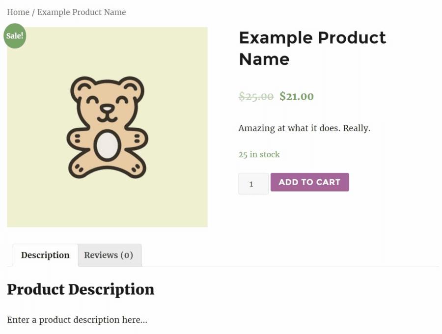 Een voorbeeldproduct in WooCommerce