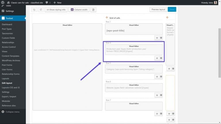 Het weergeven van aangepaste velden met de Visual Editor