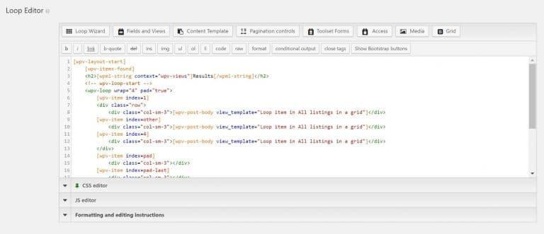 Zo ziet de loop editor eruit met velden