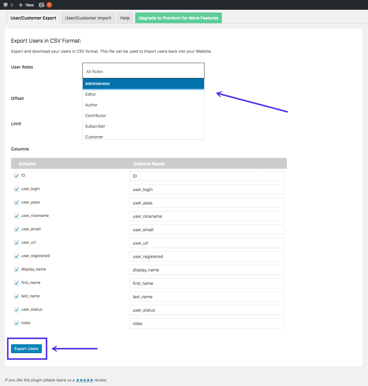 Import Export WordPress Users plug-in