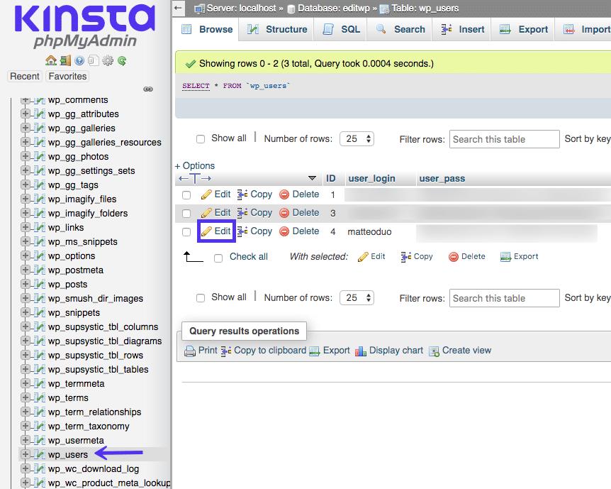Bewerk je gebruikersnaam via de database