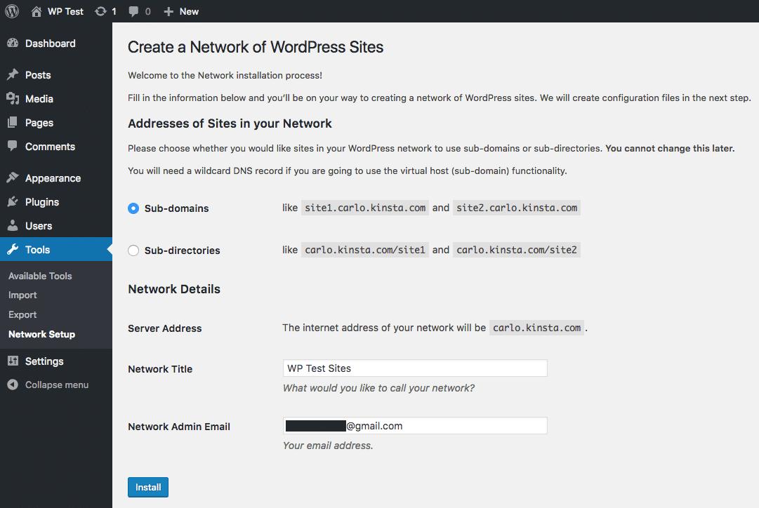 Hoe kies je subdomeinen tijdens de installatie van WordPress Multisite