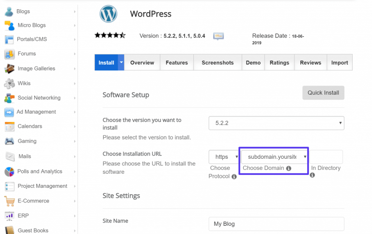 Zo installeer je WordPress op een subdomein met een autoinstaller