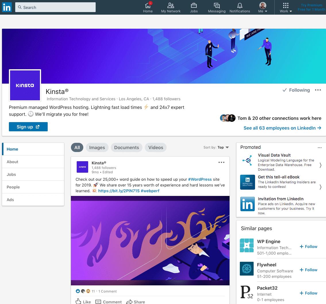 Kinsta op LinkedIn