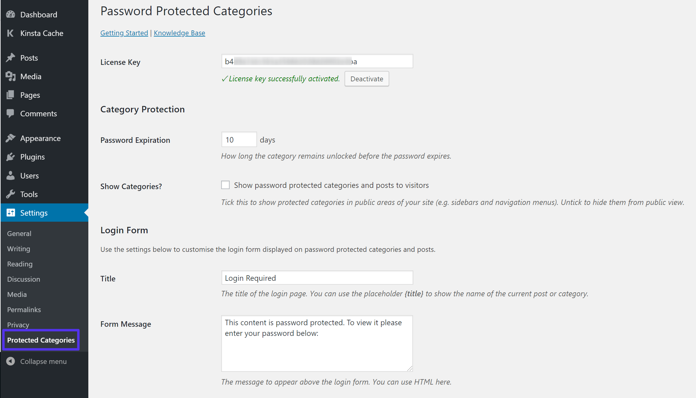 Password Protected Categories-instellingen
