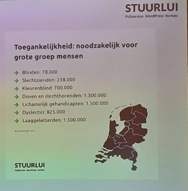 Foto van sheet uit presentatie van Stuurlui over toegankelijkheid