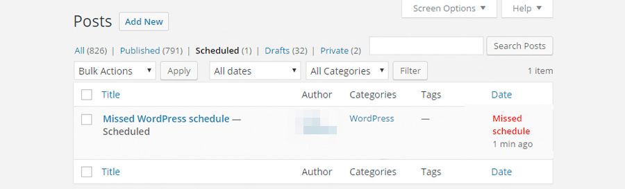 WordPress Missed Schedule foutmelding