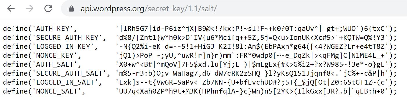 WordPress.org kan je helpen bij het genereren van nieuwe sleutels en SALT-codes