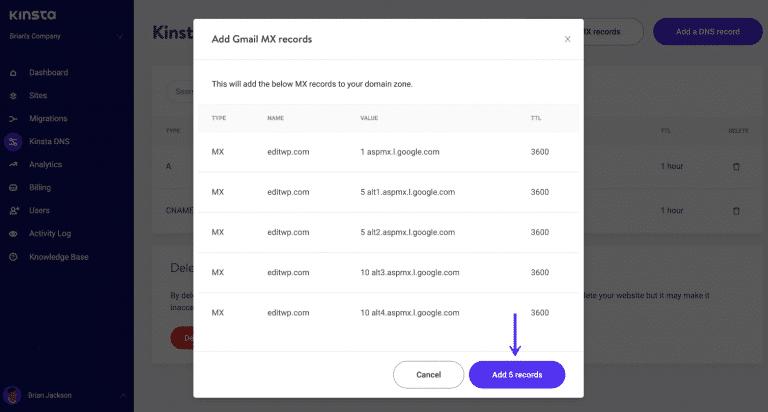 Aspmx.l.google.com records toevoegen