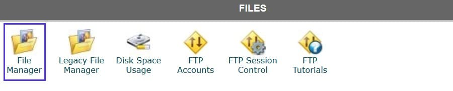 File Manager bij cPanel