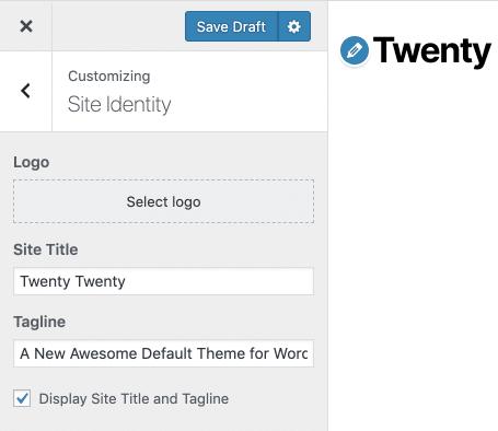 Site Titel en Tagline kunnen worden ingeschakeld en uitgeschakeld in de Theme Customizer