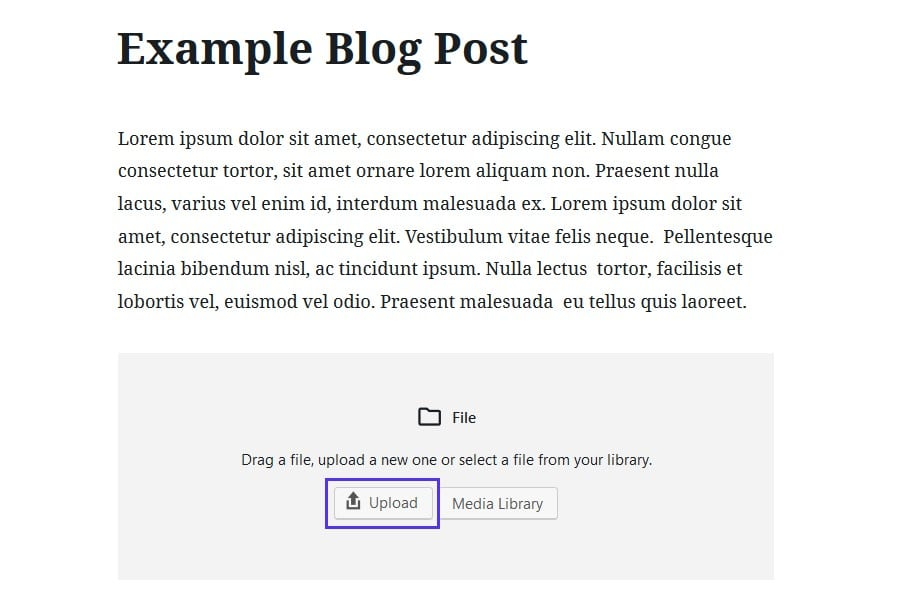 Het uploaden van een HTML-bestand via Gutenberg