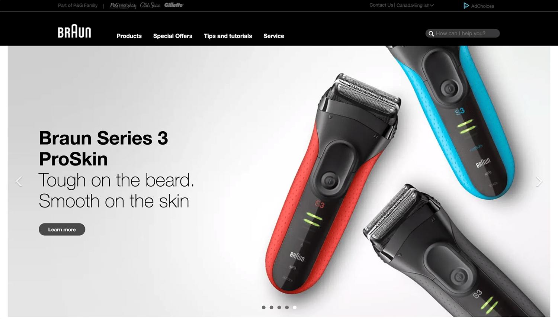 De Canadese website van Braun