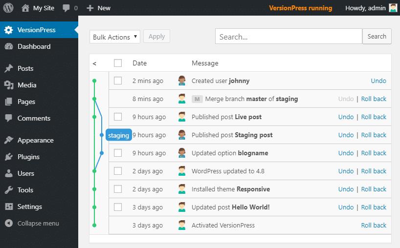 De interface van VersionPress