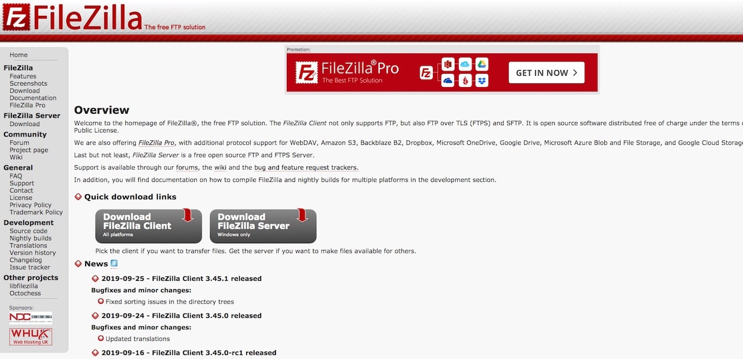 Best FTP Clients: FileZilla