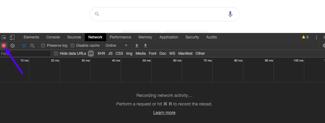 Zorg ervoor dat de opnameknop rood is in het tabblad Network.