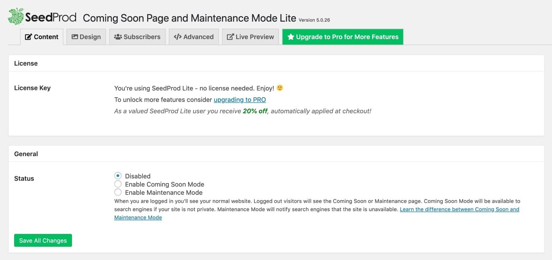 Maintenance Mode plugin