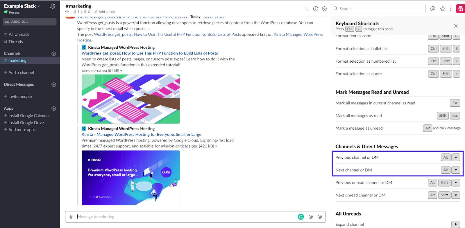 Kanalen en directe berichten scrollen