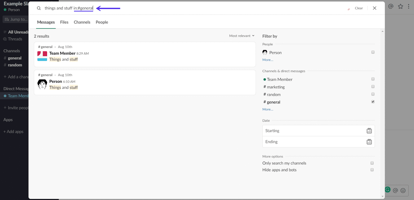 Zoeken in Slack-kanaal