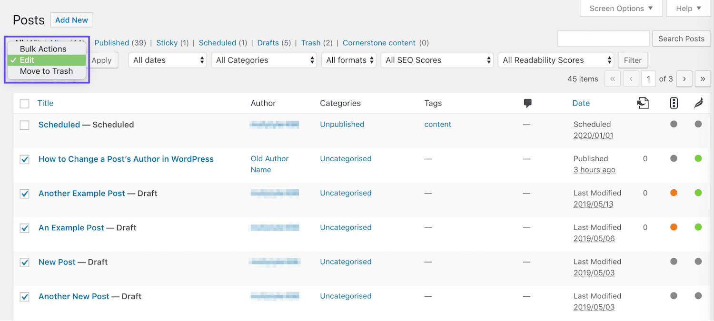 Bewerking van auteurs in bulk