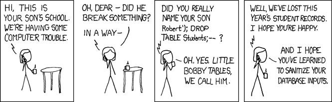 Een cartoon over SQL-injectie