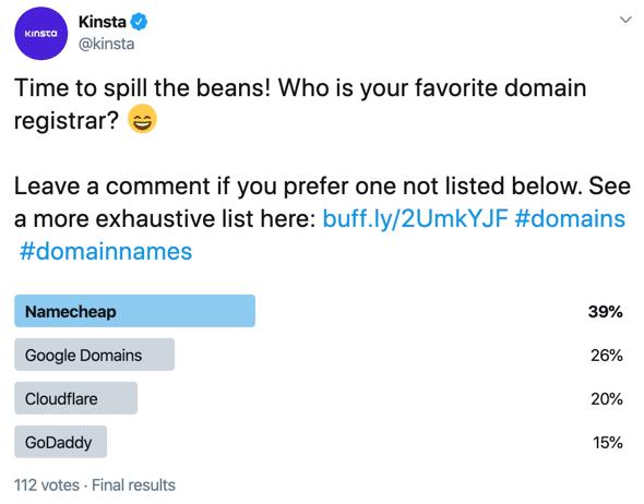 Survey van Kinsta omtrent favoriete registrars