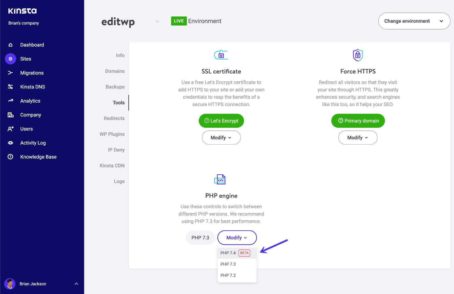 Wijzig de WordPress-site naar PHP 7.4-RC