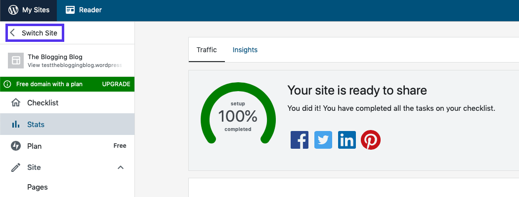 Het WordPress.com-dashboard.